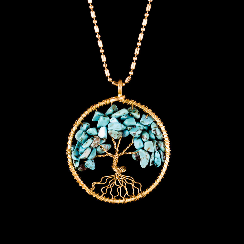 Tree of Life Necklace - Turquoise - Small - Ekeko Crafts