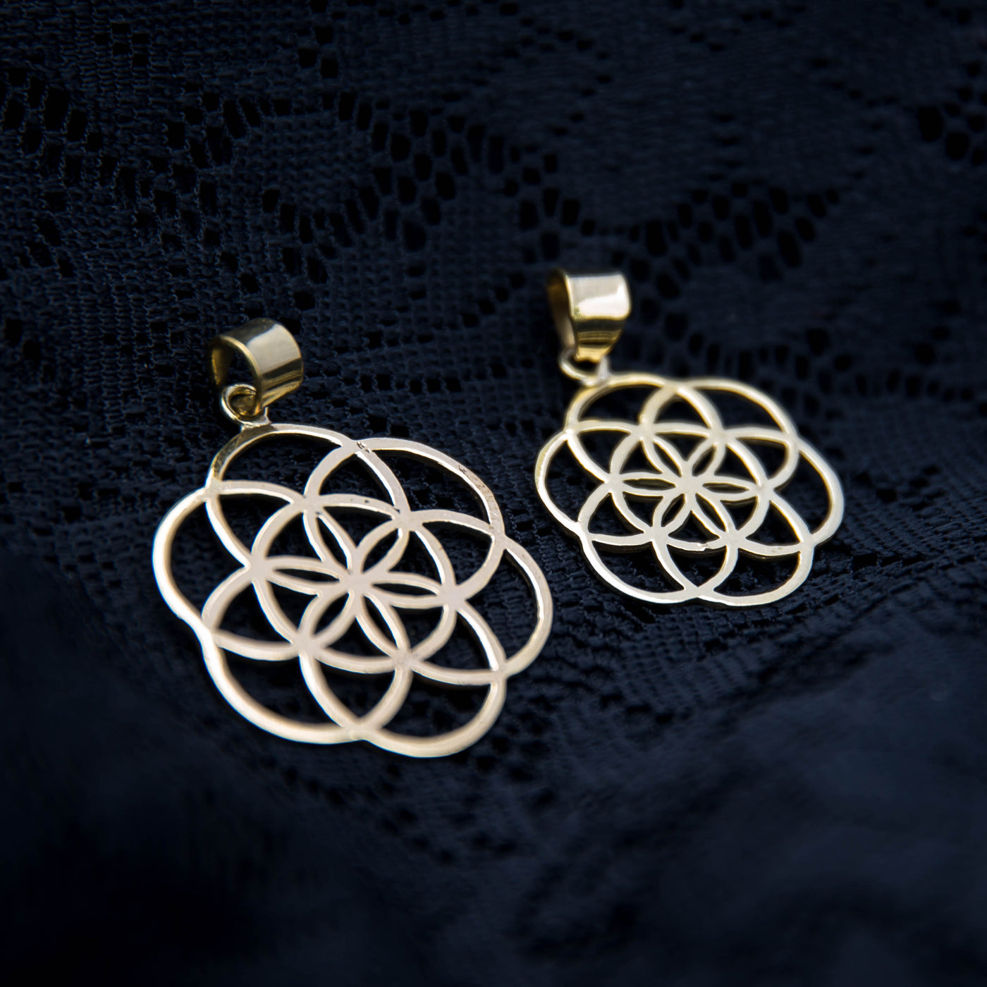 Seed of Life Pendant - Brass