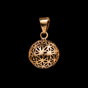 Flower of Life Globe Pendant with Bell - Ekeko Crafts