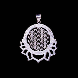 Flower of Life Lotus Pendant - White Brass - Ekeko Crafts