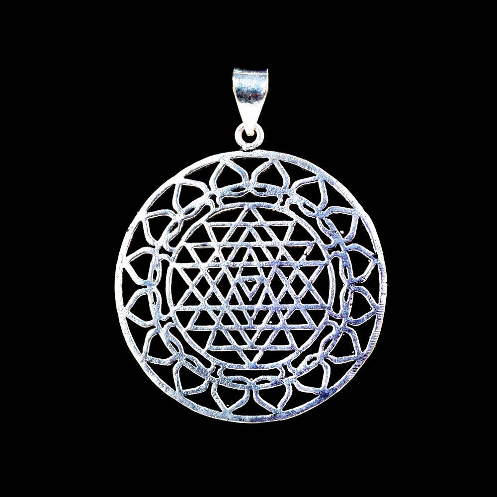 Sri Yantra Mandala Pendant - White Brass - Ekeko Crafts