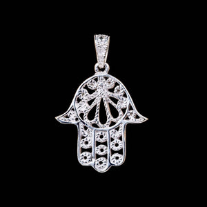 Hamsa Hand of Fatima Pendant - White Brass - Ekeko Crafts