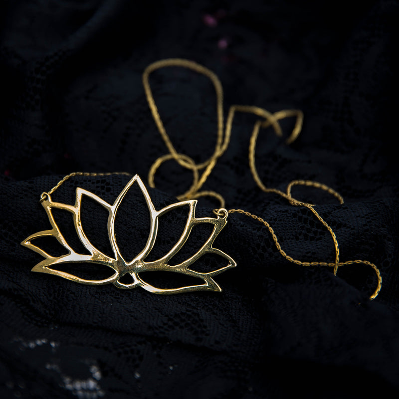 nine petal lotus flower, spiritual meditation gift, gold brass jewellery