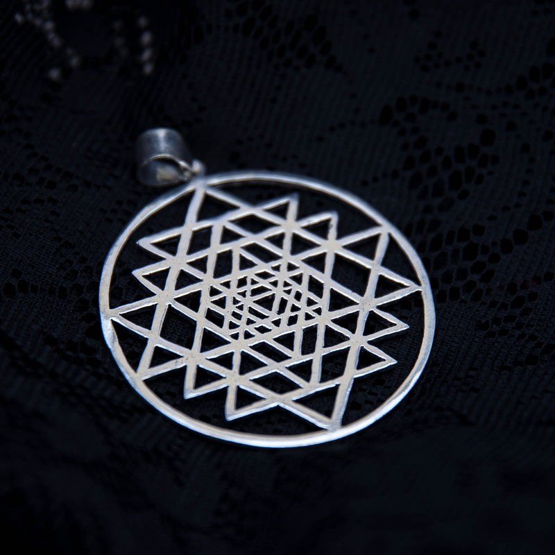 Sri Yantra Pendant - White Brass - Ekeko Crafts