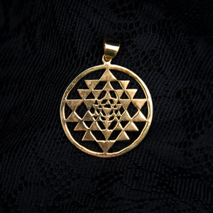 Sri Yantra Plain Pendant - Brass - Ekeko Crafts