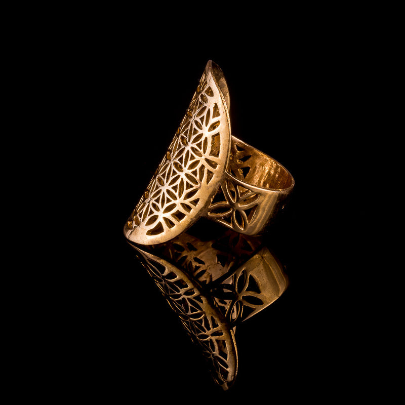 Flower of Life Brass Ring - Ekeko Crafts