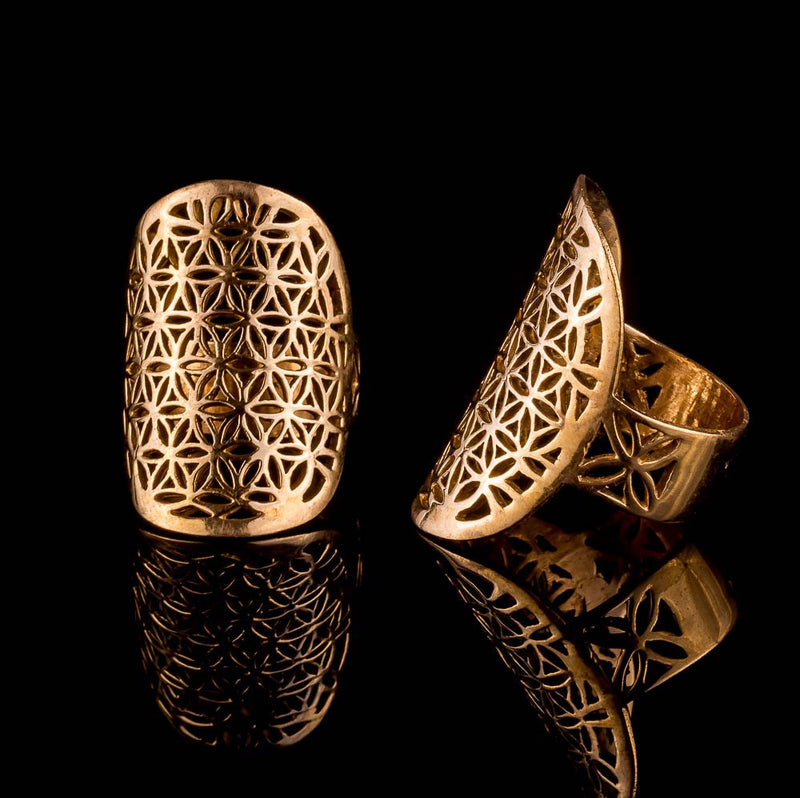 flower of life brass ring, sacred geometry jewelry