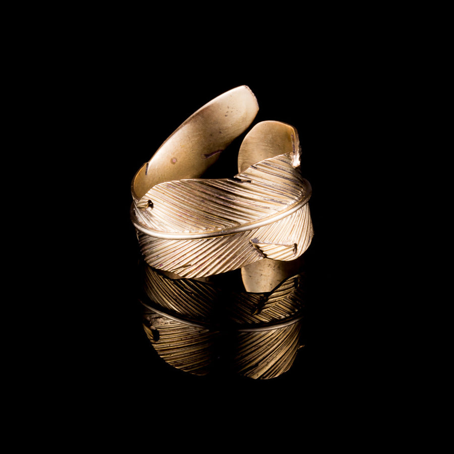 Feather Wrap Brass Ring - Ekeko Crafts