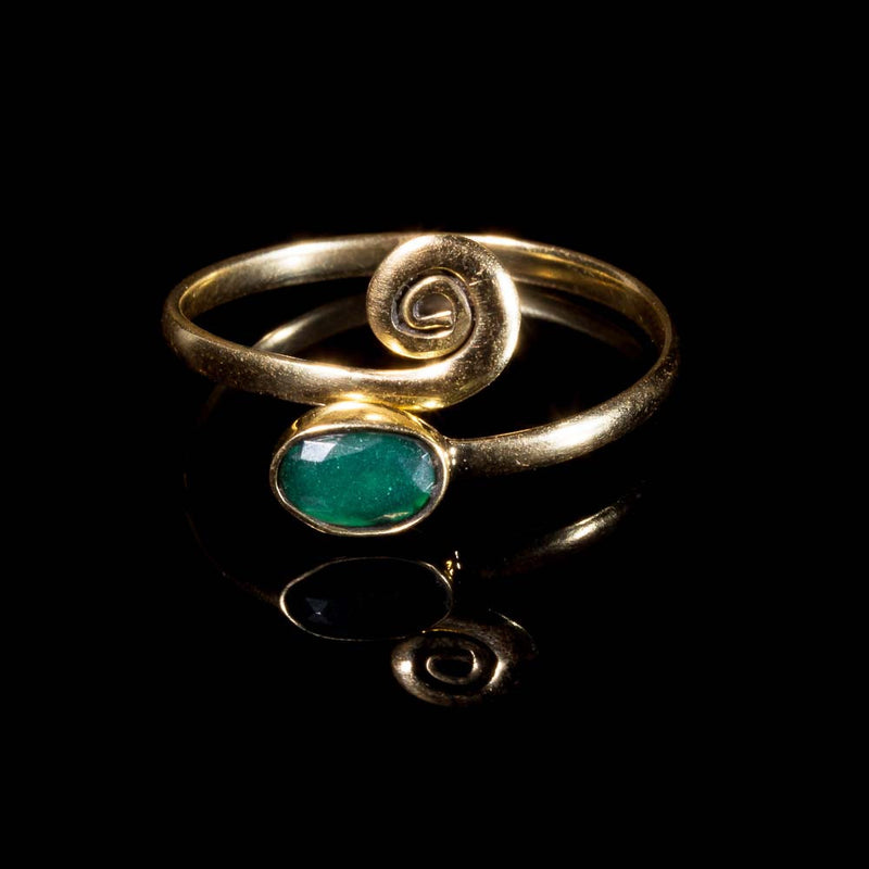 Green Midi Ring - Brass - Ekeko Crafts