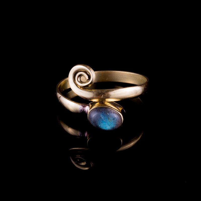 Labradorite Midi Ring - Brass - Ekeko Crafts