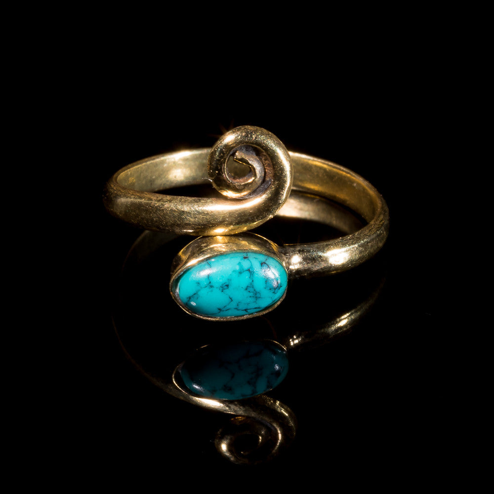 Turquoise Midi Ring - Brass - Ekeko Crafts