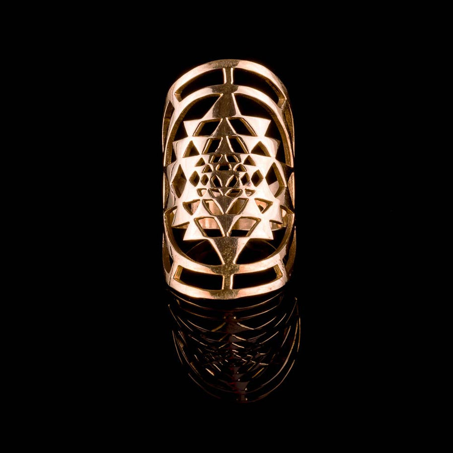 Sri Yantra Ring - Brass - Ekeko Crafts