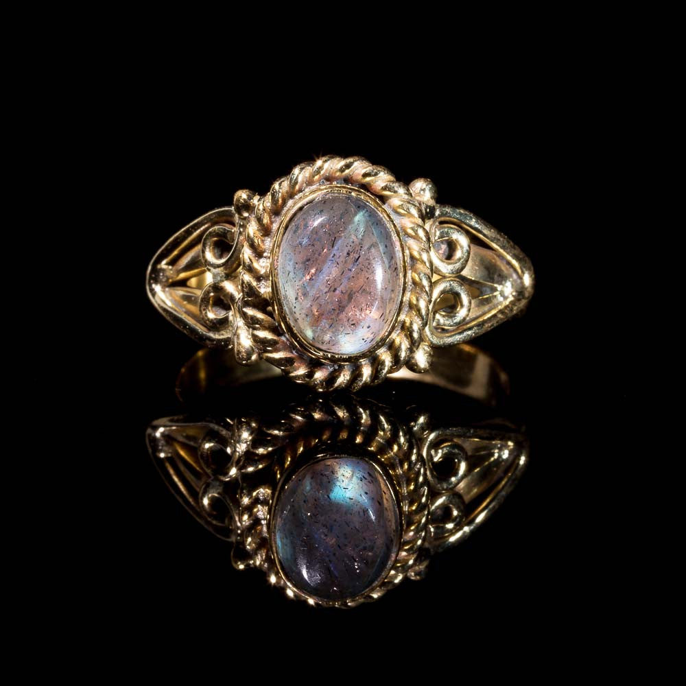 Prem Ring - Brass - Labradorite - Ekeko Crafts