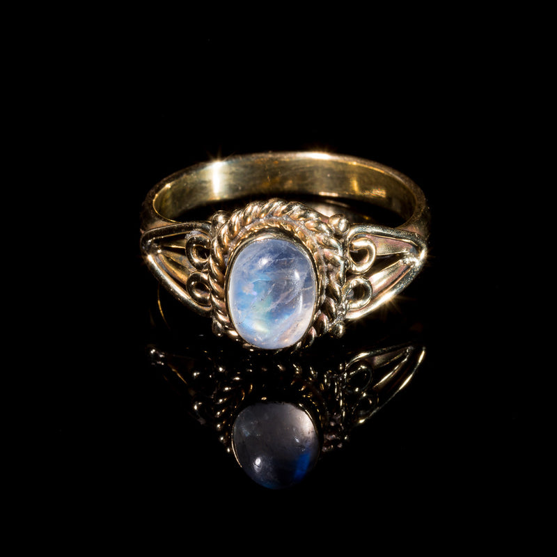 boho moonstone ring, brass indian jewelry