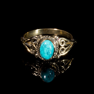 Prem Ring - Brass - Turquoise - Ekeko Crafts