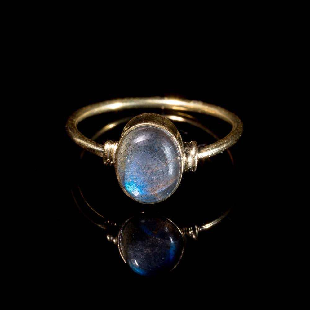 Labradorite Brass Ring