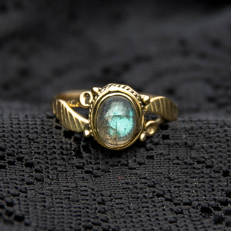 Leaf Ring - Brass - Labradorite - Ekeko Crafts