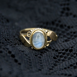 Leaf Ring - Brass - Moonstone - Ekeko Crafts