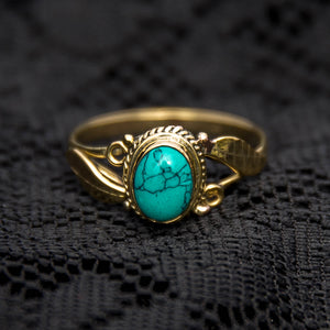 Leaf Ring - Brass - Turquoise - Ekeko Crafts