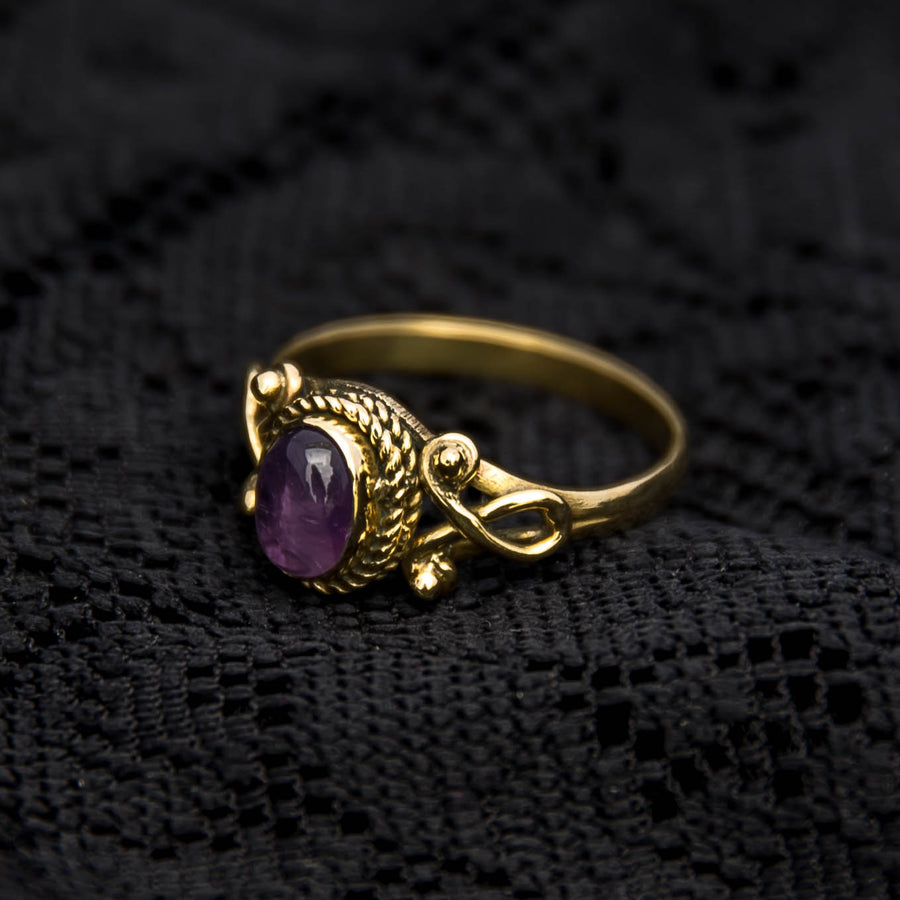 Durga Ring - Brass - Amethyst - Ekeko Crafts