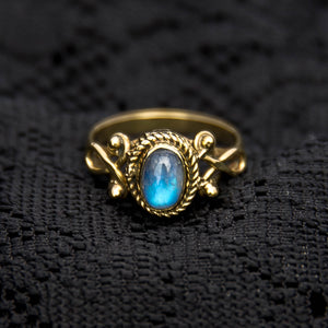 Durga Ring - Brass - Moonstone - Ekeko Crafts