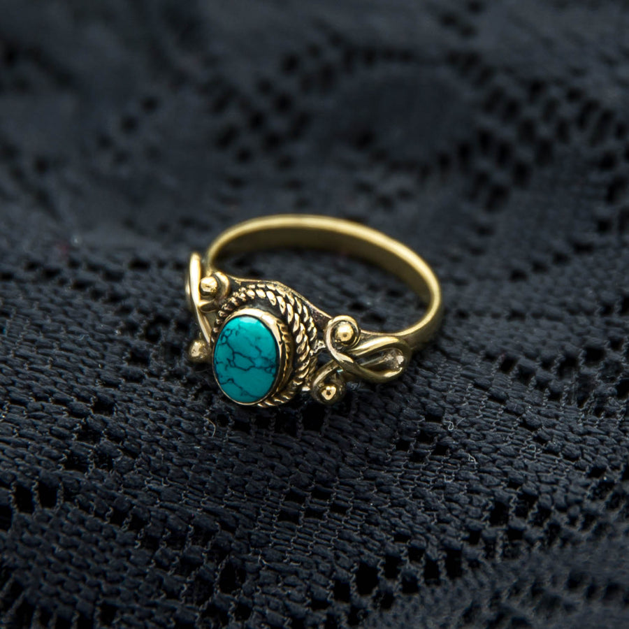 Durga Ring - Brass - Turquoise - Ekeko Crafts