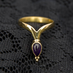 Chevron Ring - Brass - Amethyst - Ekeko Crafts