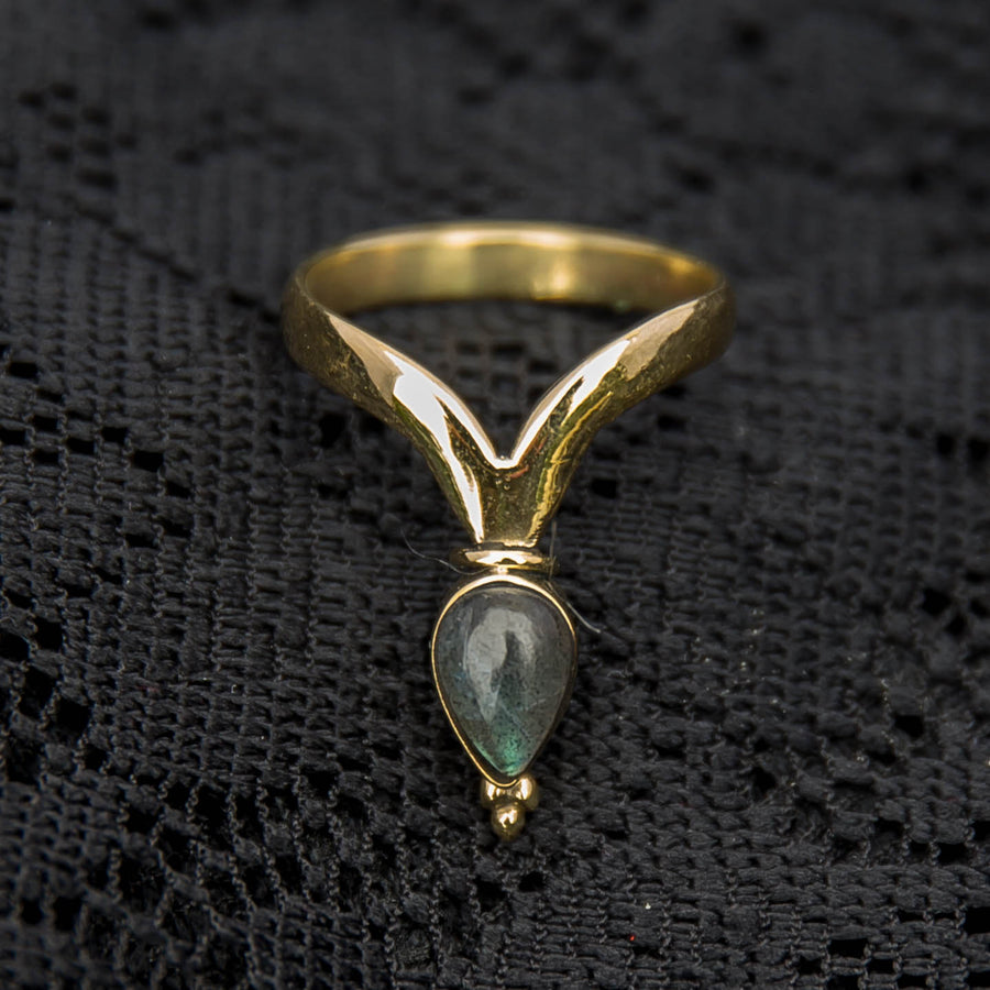 Chevron Ring - Brass - Labradorite - Ekeko Crafts