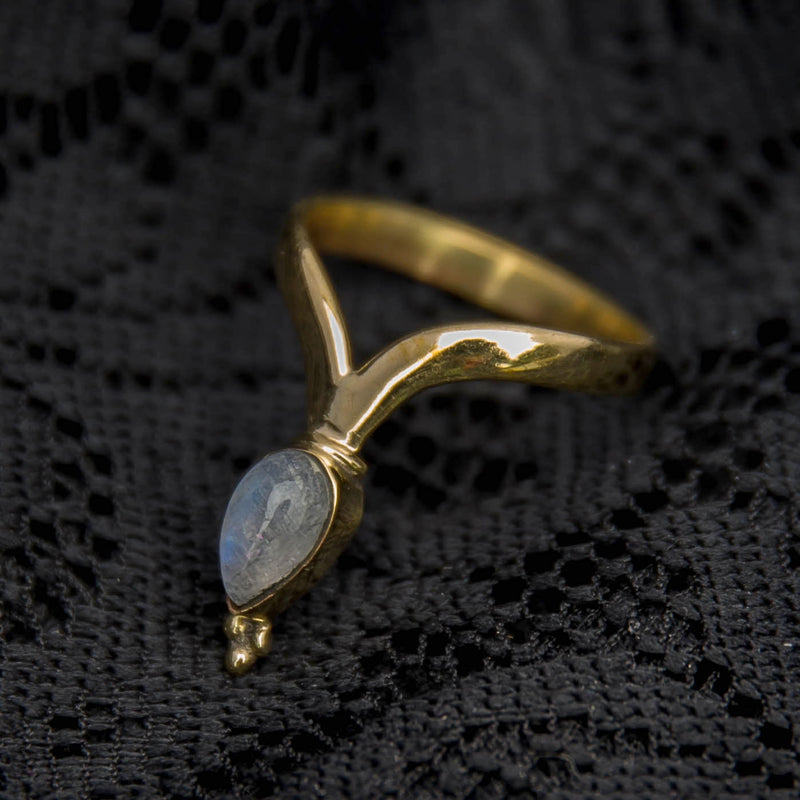 Chevron Ring - Brass - Moonstone - Ekeko Crafts