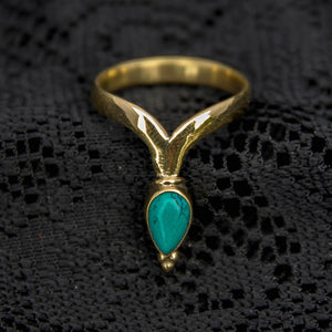 Chevron Ring - Brass - Turquoise - Ekeko Crafts
