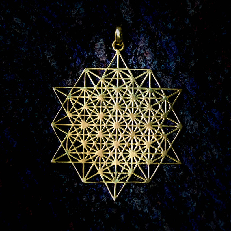 64 point star tetrahedron, visualisation pendant, sacred symbol jewellery