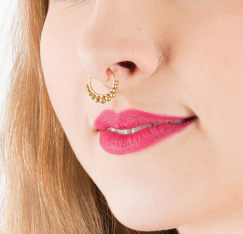 Kashi Brass Septum Ring - Ekeko Crafts