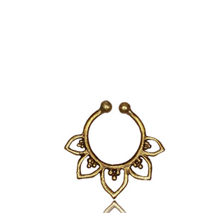 Lotus Leaf - Fake septum Ring - Brass - Ekeko Crafts