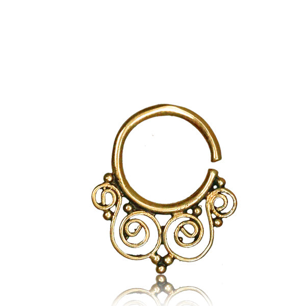 Dharini Real Septum Ring - Brass - Ekeko Crafts