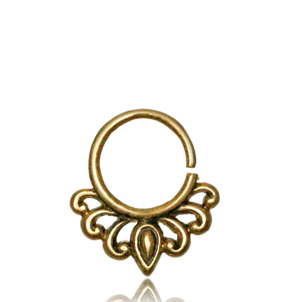 Flower Septum Ring - Brass - Ekeko Crafts