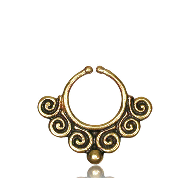Cloud Faux Septum Ring - Brass - Ekeko Crafts