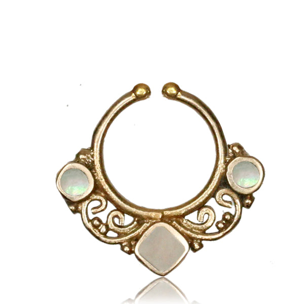 Deepa Faux Septum Ring - Brass - Mother of Pearl - Ekeko Crafts