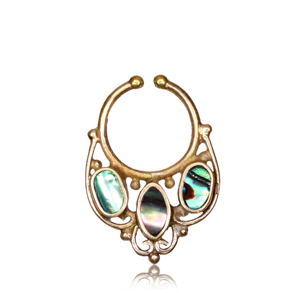 Ishani Fake Septum Ring - Abalone - Brass - Ekeko Crafts