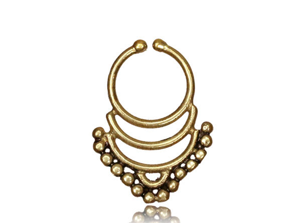 Shyla Fake Septum Ring - Brass - Ekeko Crafts