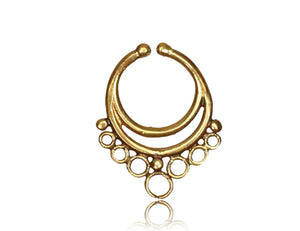 Crescent Moon Faux Septum Ring - Brass - Ekeko Crafts