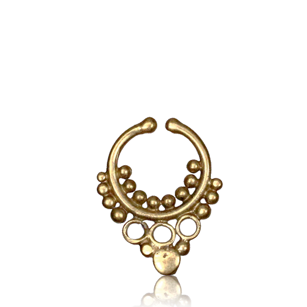 Radha Fake Septum Ring - Brass - Ekeko Crafts