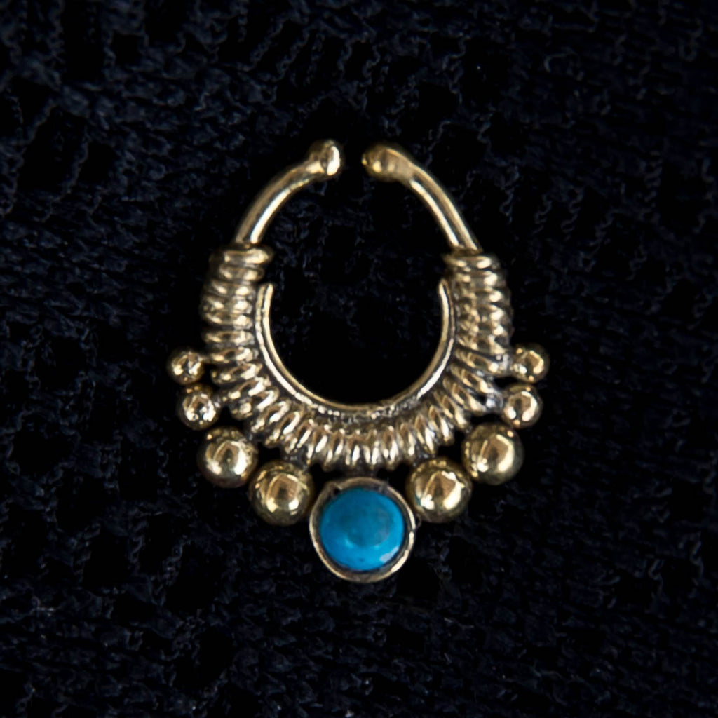 Chakrikaa Faux Septum Ring - Brass - Turquoise - Ekeko Crafts