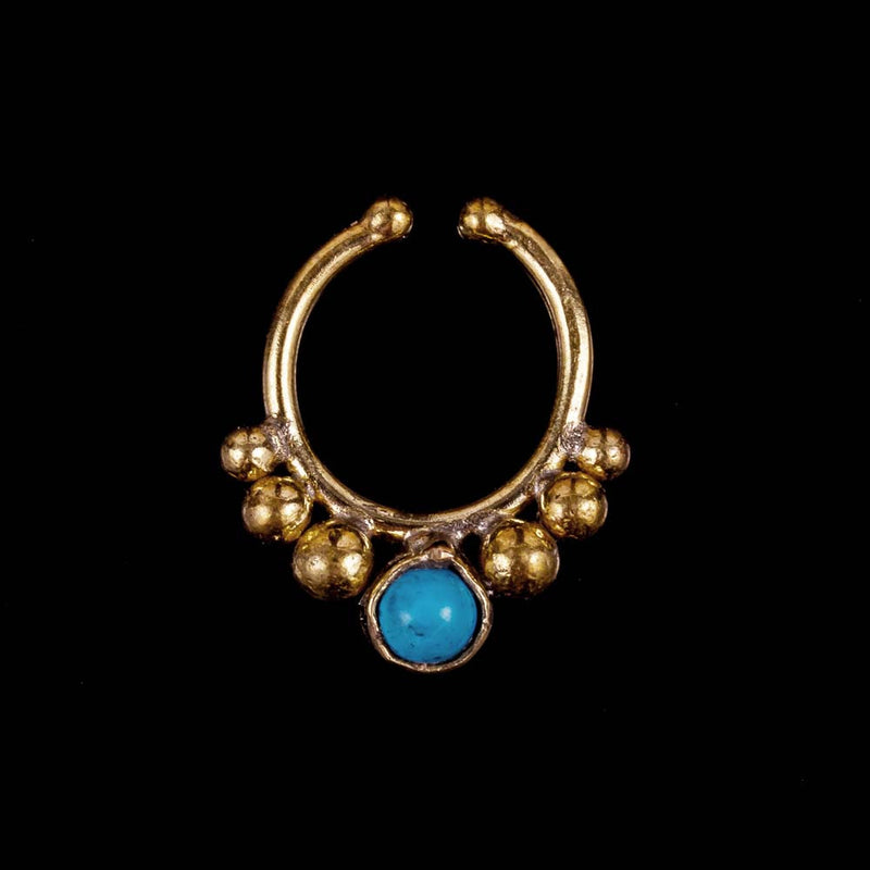 Dotted Faux Septum ring - Turquoise - Ekeko Crafts