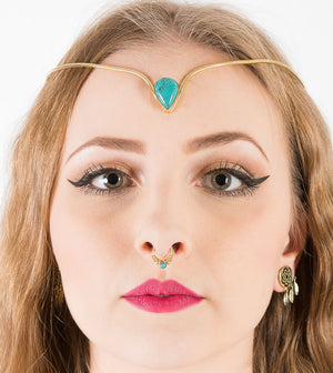 Dotted Faux Septum Ring Turquoise Tribal Style Clip On Septum