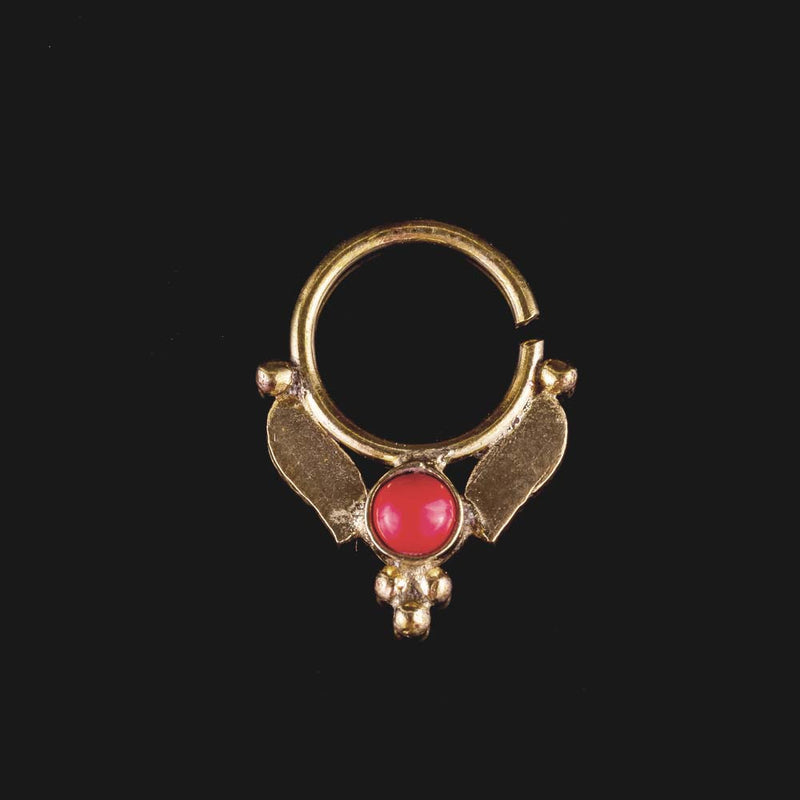 Ma Brass Septum - Red Coral - Ekeko Crafts