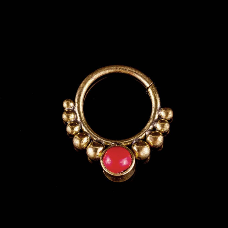 Red Coral Dotted Septum Ring - Ekeko Crafts