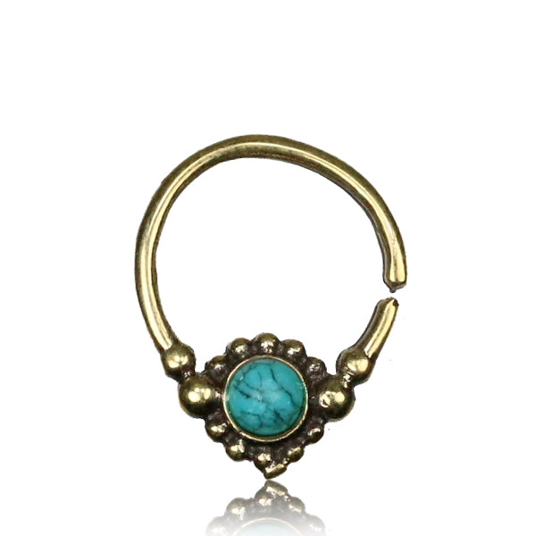 Shyla Septum Ring - Brass - Turquoise - Ekeko Crafts