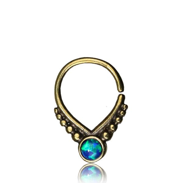 Bani Septum Ring - Opal - Brass - Ekeko Crafts