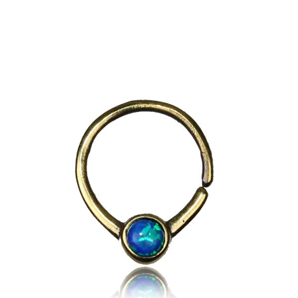Umika Septum Ring - Opal - Brass - Ekeko Crafts