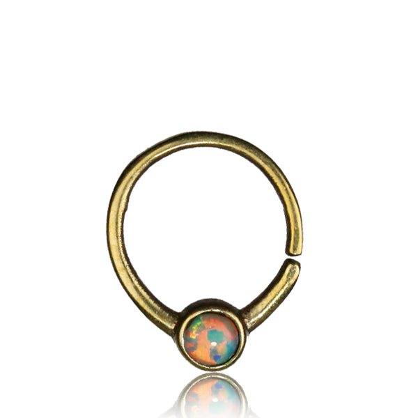 Sarika Septum Ring - Fire Opal - Brass - Ekeko Crafts